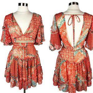 Etiquette Coral Sage Patchwork Ruffle Mini Dress M